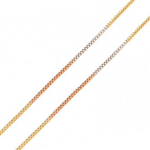 Corrente em Ouro Tricolor 18K Veneziana de 0,5mm com 45cm