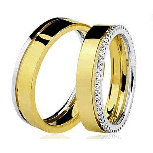 Par de Aliança Casamento e Noivado de Ouro 18K com 6mm e Brilhantes