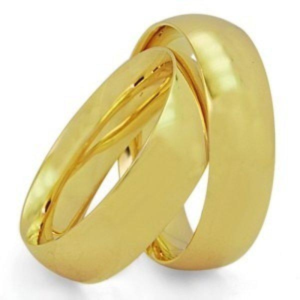 Par de Aliança Casamento e Noivado de Ouro 18K Anatômico com 7mm