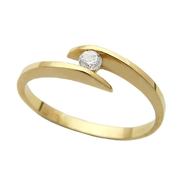 Anel Solitário de Ouro 18K com Diamante de 0,10Cts