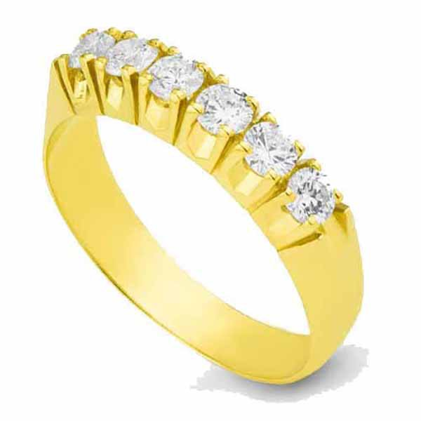 Meia aliança de Ouro 18K com Diamantes de 10 pontos (0,60 Cts)
