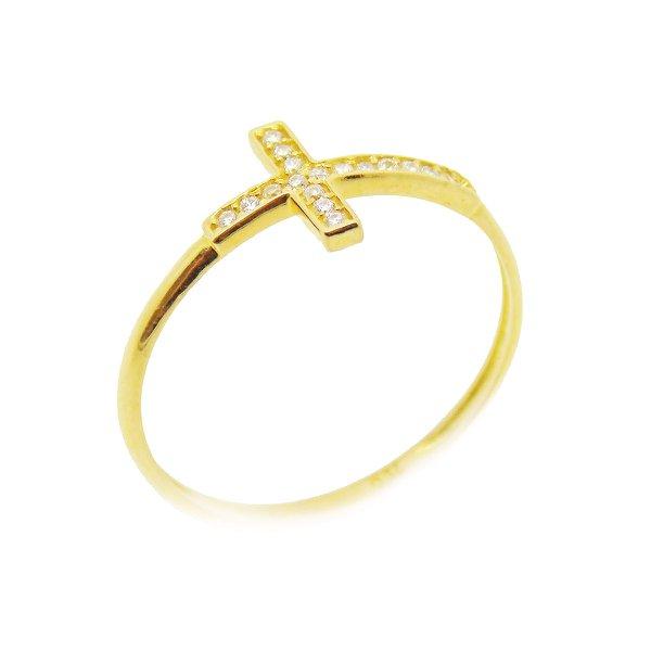Anel de Ouro 18K Cruz com zircônias