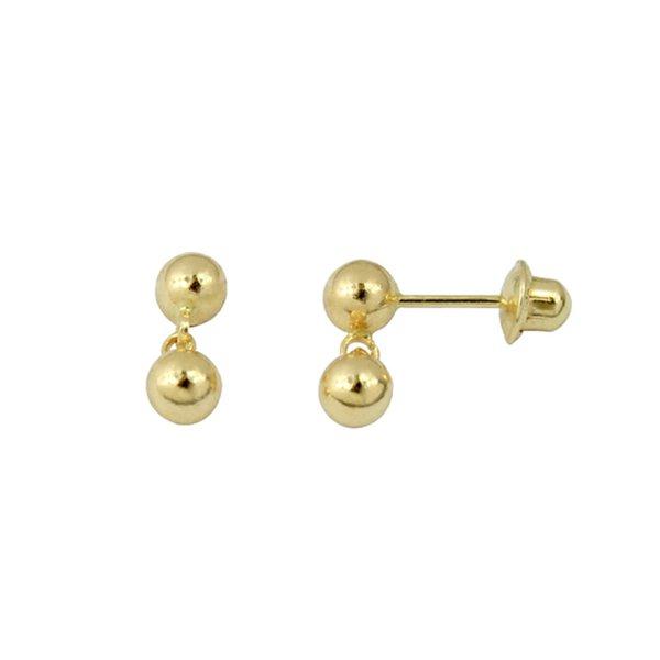 Brinco de Ouro 18K Duas bolinhas de 3mm