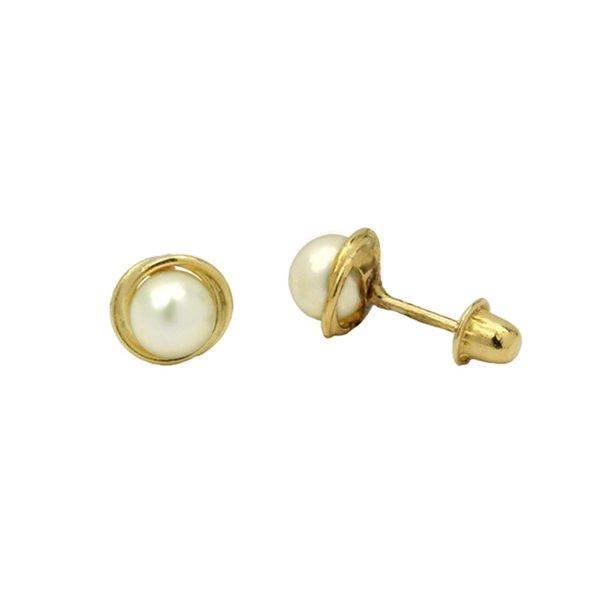 Brinco de Ouro 18K Rococó de Pérola 4mm