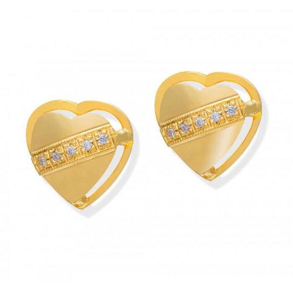 Brinco de Ouro 18K Coração com zircônias