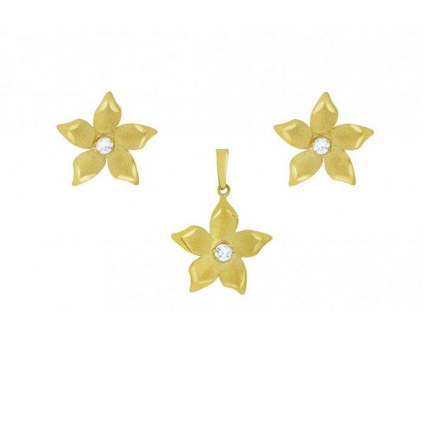 Conjunto Brinco e Pingente de Ouro 18K Flor com zircônias