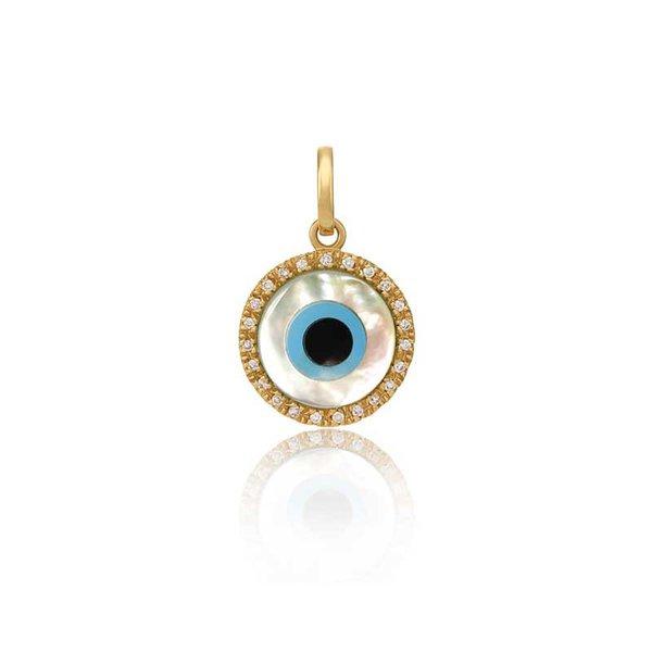Pingente de Ouro 18K Olho Grego de 10mm com Zircônias