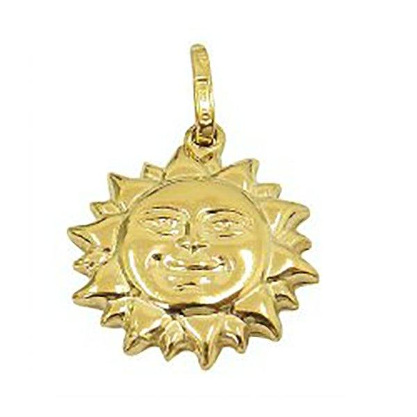 Pingente de Ouro 18K Sol de 23mm