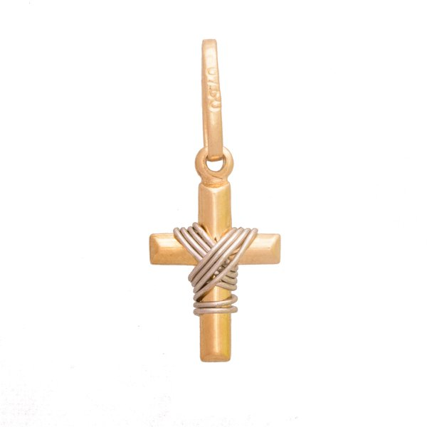 Pingente de Ouro 18K Cruz com fio branco de 12mm