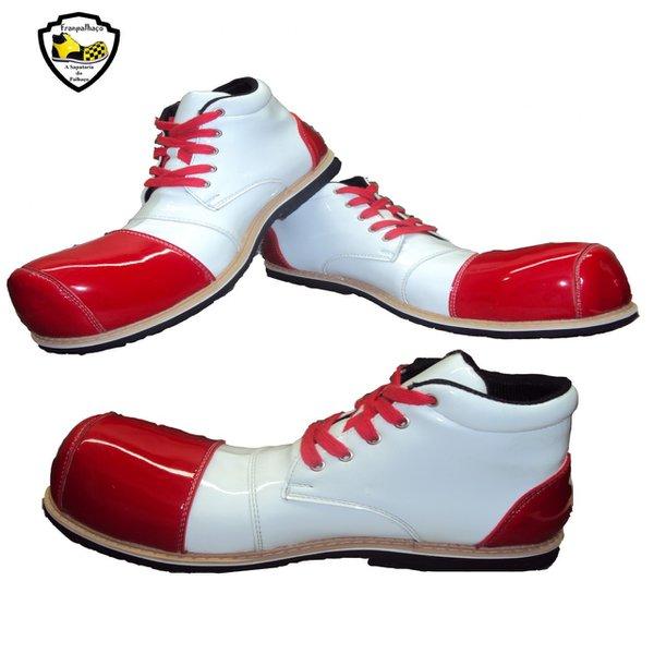 Sapato de Palhaço Branco/Vermelho Ref 550