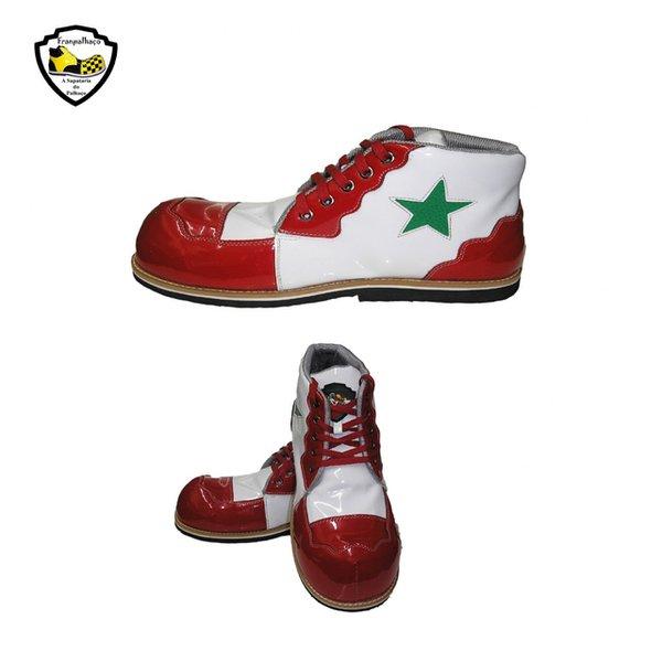 Sapato de Palhaço Branco/Vermelho com Detalhe em Estrela Verde Ref 402