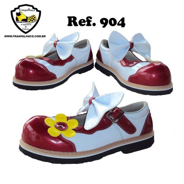 Sapato de Palhaço Feminino Vermelho/Branco com Laço e Flor Amarela Ref 904