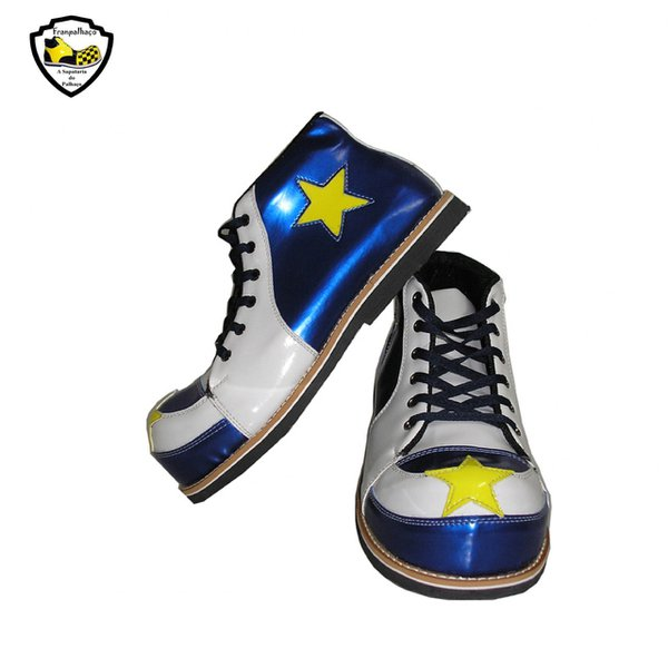 Sapato de Palhaço Azul/Branco Detalhe de Estrela Ref 700