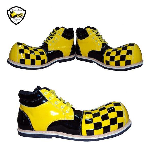 Sapato de Palhaço Infantil Quadriculado Amarelo/Preto Ref 500