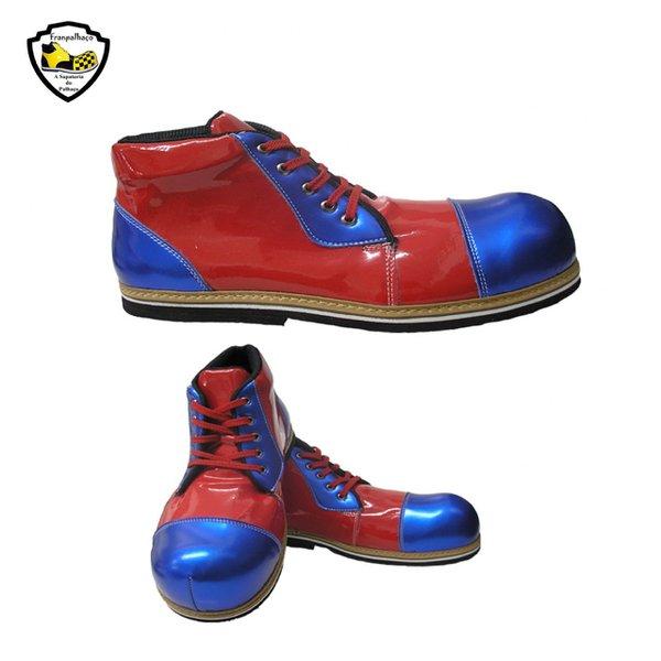 Sapato de Palhaço Infantil Vermelho Bico Azul Ref 602
