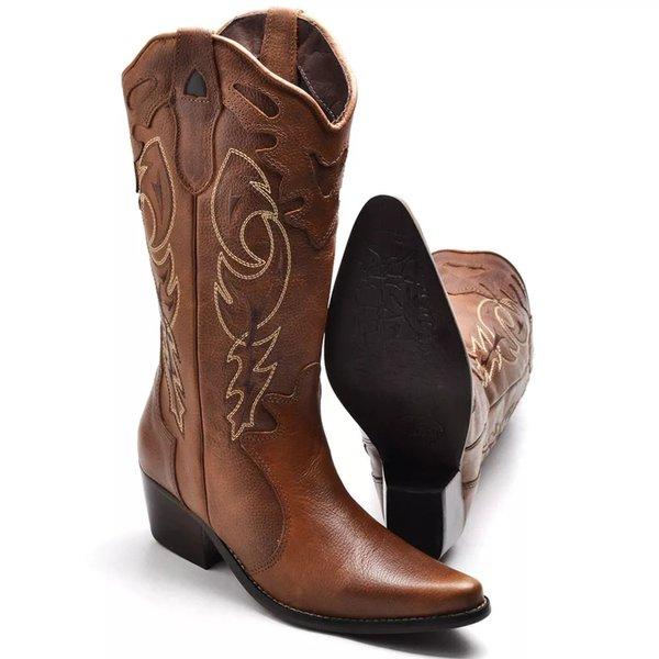 2cdb3e371a8 Bota Country Texana Feminina Montaria Couro Bico Fino