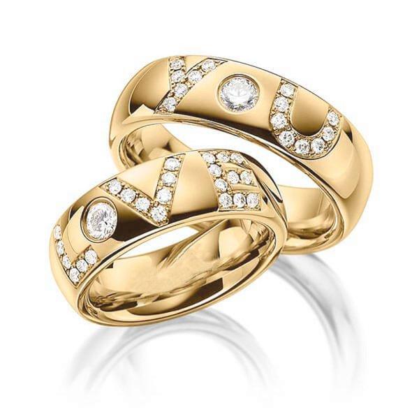 be3a5582c07 Aliança Cravejada com Diamantes Love You - 0944AL