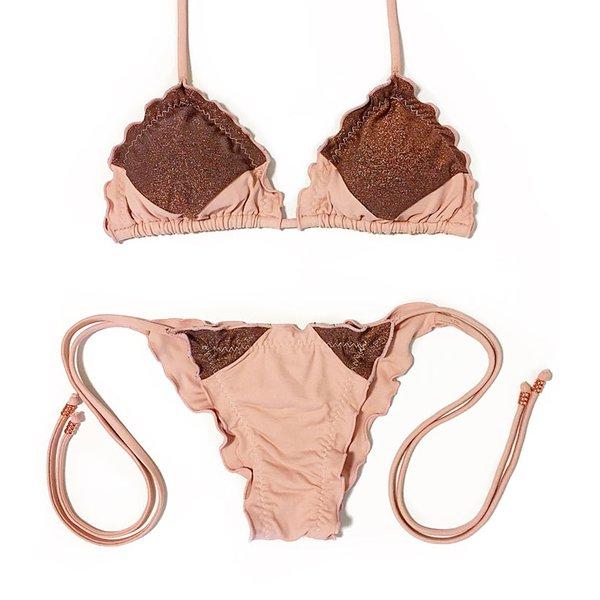 Recortes Nude Rosé e Lurex Cobre - Biquini Ripple Amarração