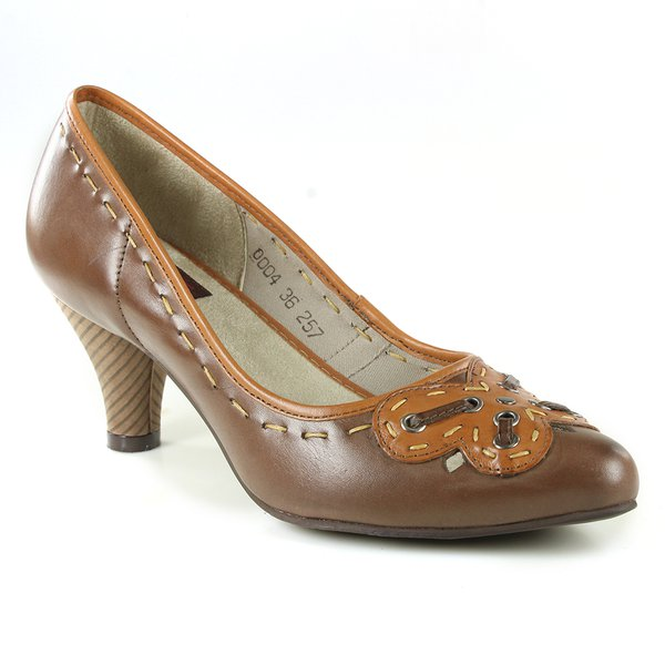 SCARPIN EM COURO COFFEE J.GEAN AMOSTRA ST0004-08