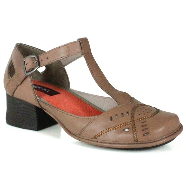 Sapato Em Couro New Kelly Taupe J.Gean