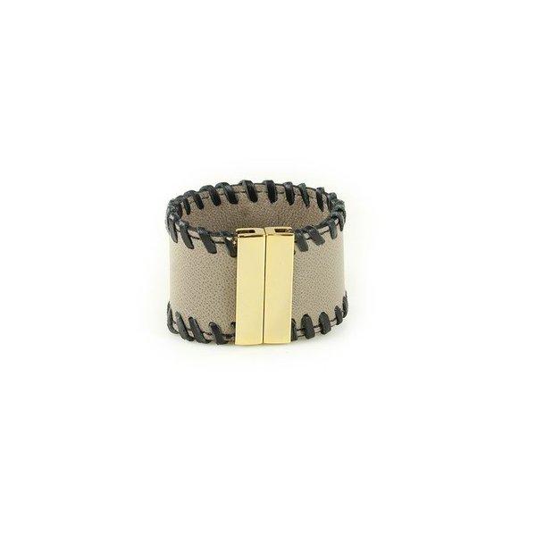 Bracelete Em Couro Silver J.Gean