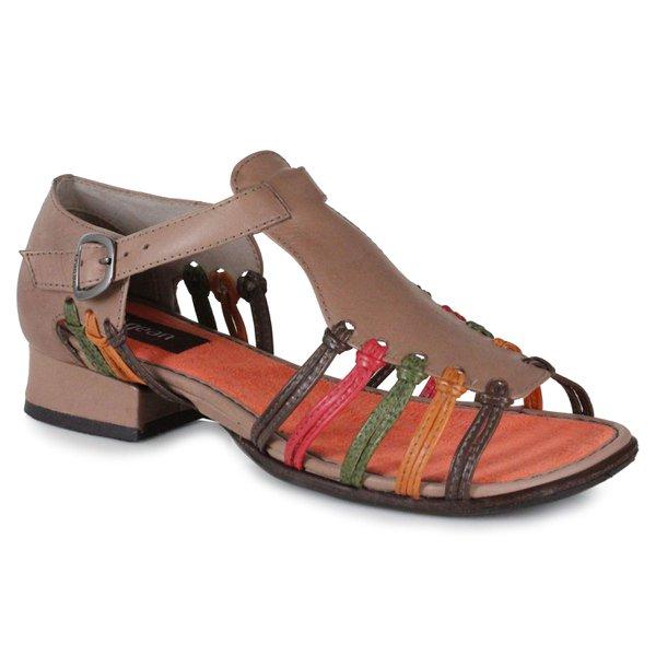 Sandália em Couro Agatha Taupe J.Gean