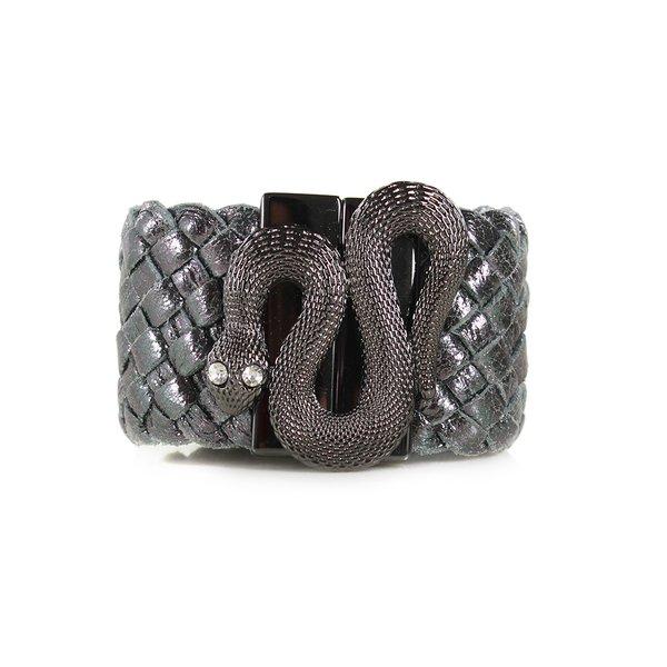 Bracelete Em Couro Grafite J.Gean