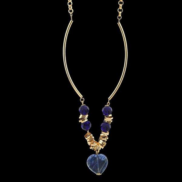 Colar Folheado a Ouro com Pedra Natural Fashion Blue