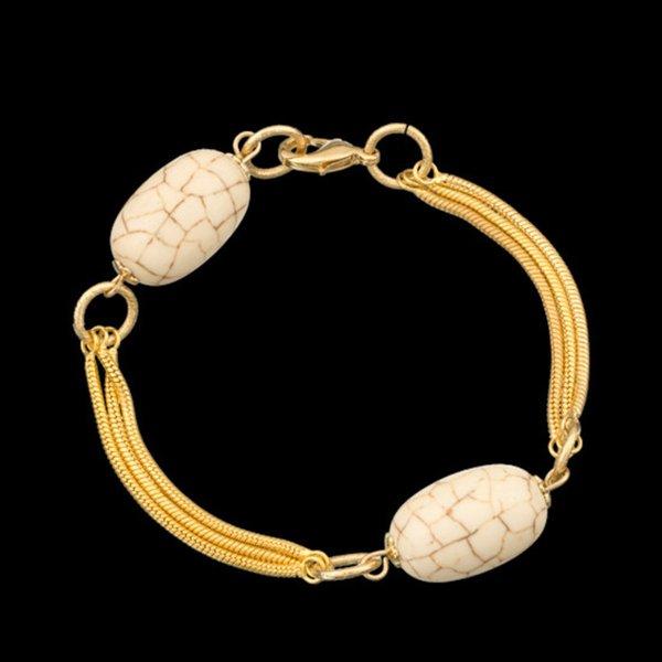 Pulseira folheada a ouro,com pedra natural turquesa branca.