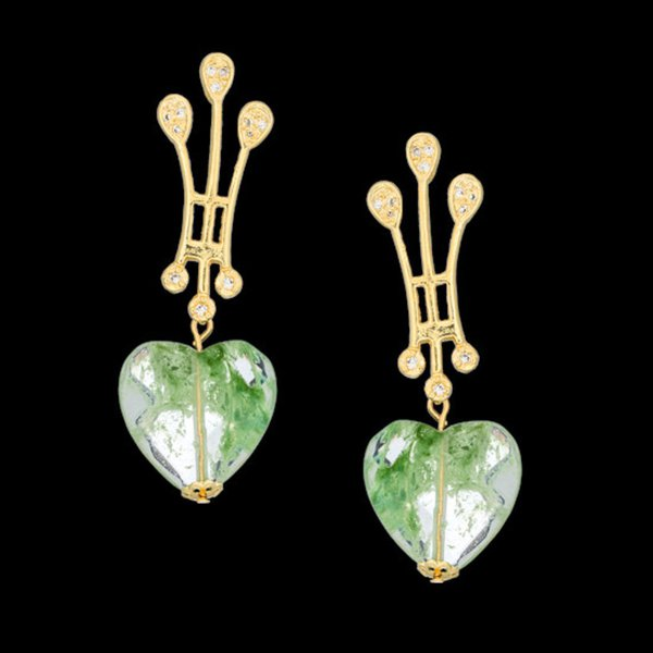 Brinco folheado à ouro 18k com fashion green coração