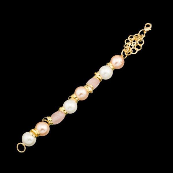 Pulseira folheada a ouro,com pedra natural quartzo rosa.