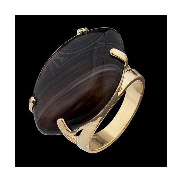 Anel Folheado à Ouro com Pedra Natural formato Losango