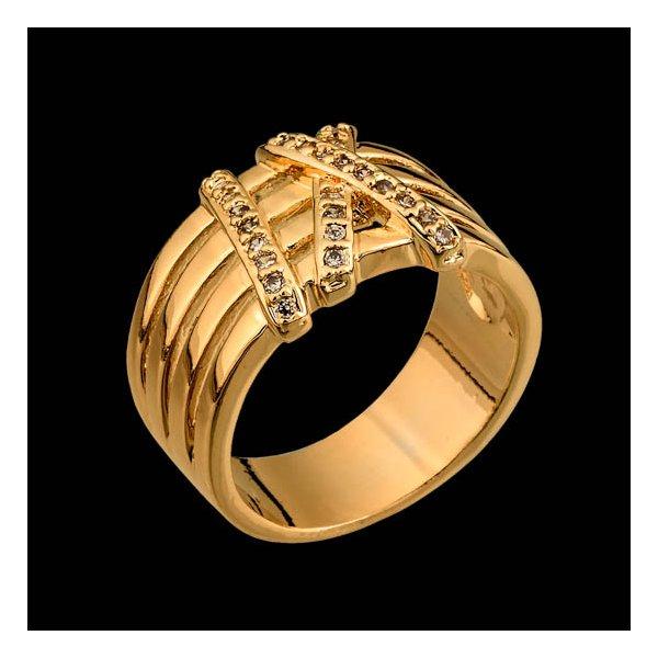 Anel folheado à ouro branco 18k zircônias XI