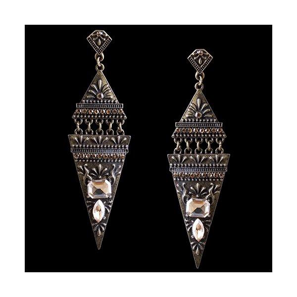 Brinco Bijuteria Rústica Ouro Velho Egipcio Triangular