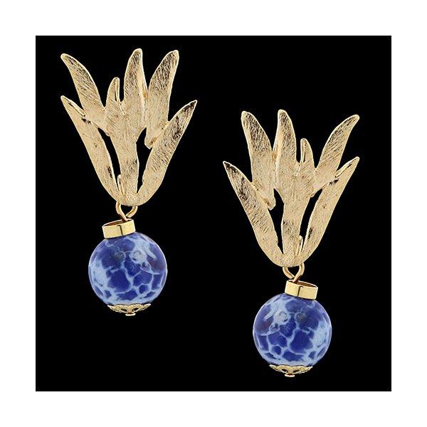 Brinco Folheado à Ouro com Pedra Natural Lazuli