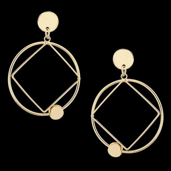 Brinco Folheado a Ouro circulos geométricos