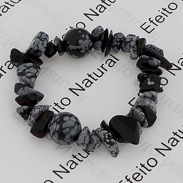 Pulseira Masculina Efeito Natural Obsidiana