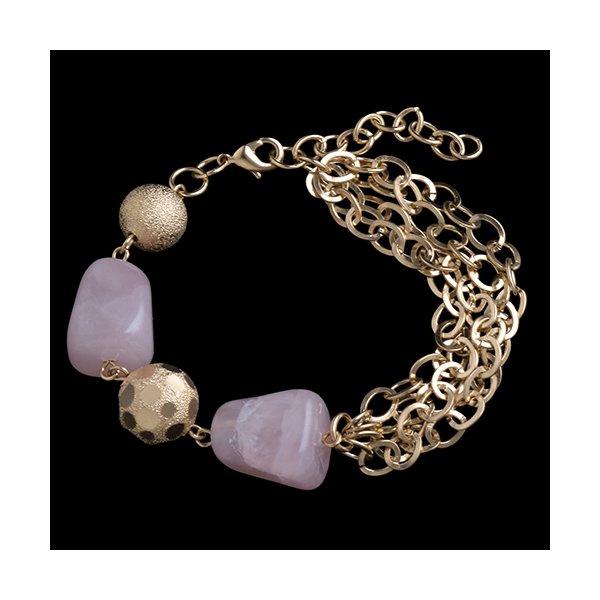 Pulseira folheada com pedra natural,quartzo rosa