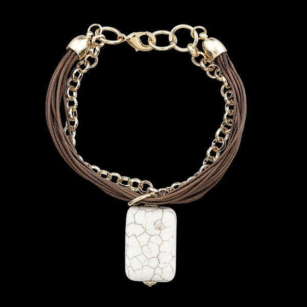 Pulseira Folheada à Ouro Corrente e Fio encerado com Pedra Natural Turquesa Branca
