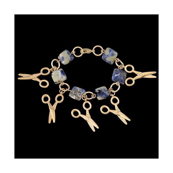 Pulseira Folheada à Ouro com Pedra Lazuli