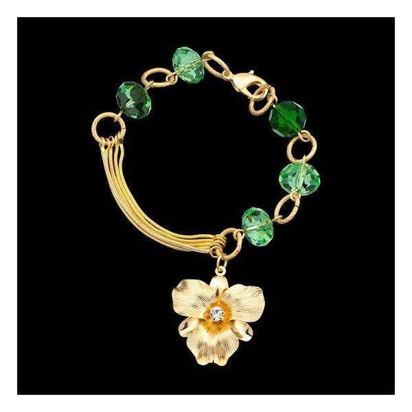 Pulseira folheada a ouro,com cristal pingente flor.