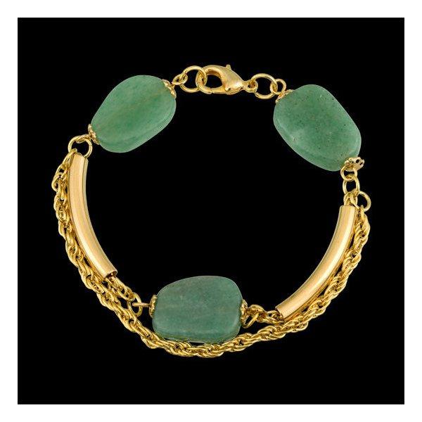 Pulseira folheada a ouro,com pedra natural quartzo verde