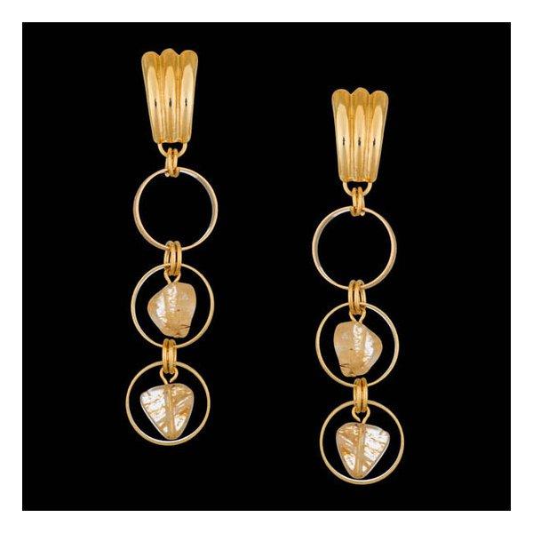Brinco folheado à ouro 18k cristal rings
