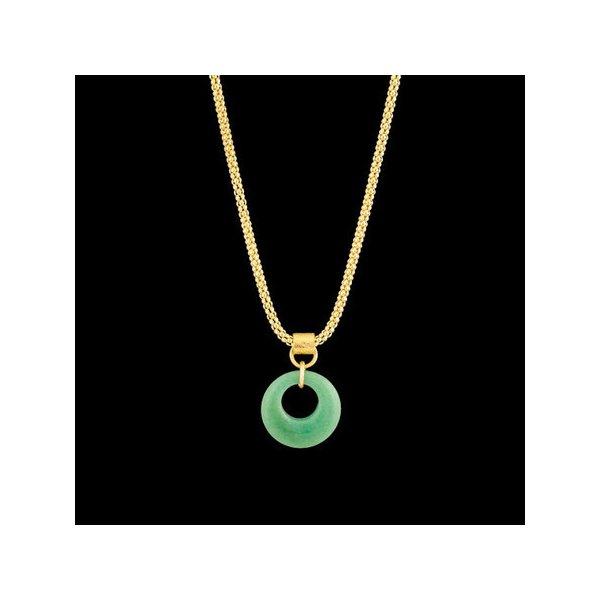 Colar folheado à ouro com pedra natural quartzo verde