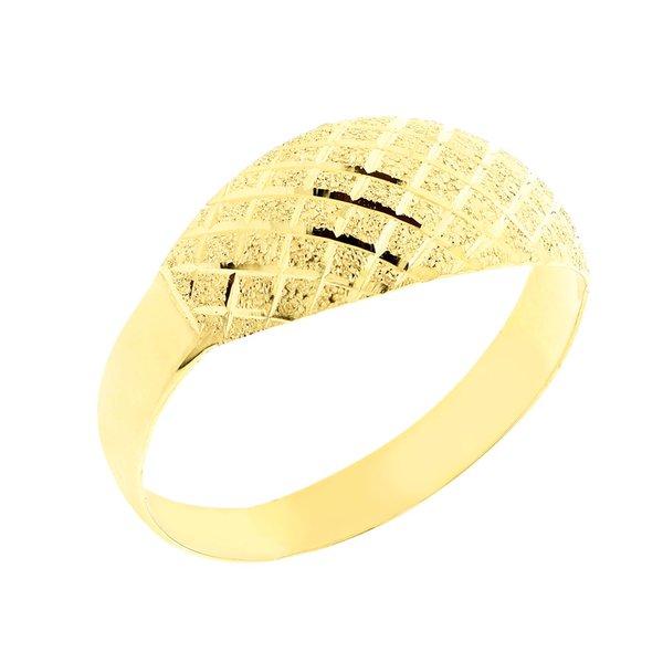 Anel Ouro 18K Feminino Diamantado e Fosco