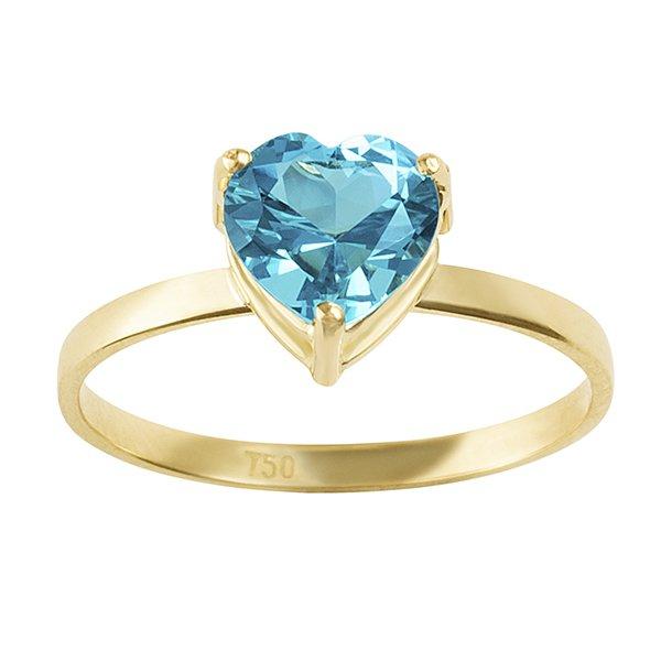 Anel de Coração Azul Topázio em Ouro 18K