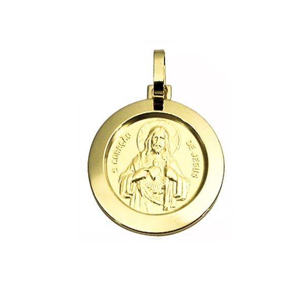 Pingente Medalha Sagrado Coração de Jesus em Ouro 18K