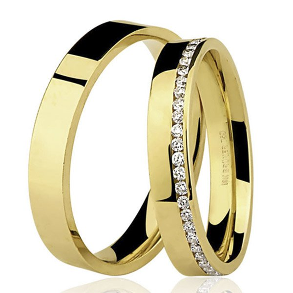 PAR de Aliança com Brilhantes em Ouro 18K 7600552050