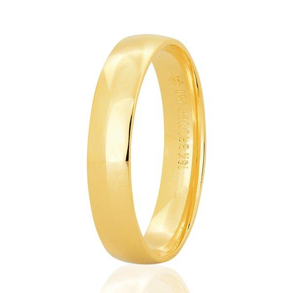 Aliança de Ouro 18K Bruner Anatômica 4mm