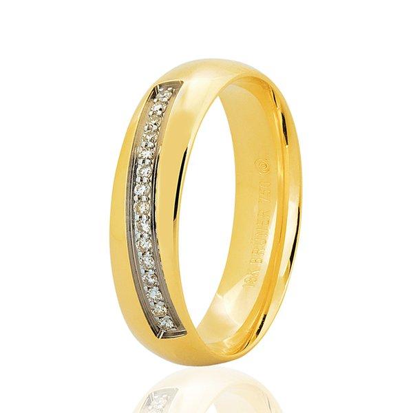 Aliança de Ouro 18K Bruner Filete Diagonal de Brilhantes